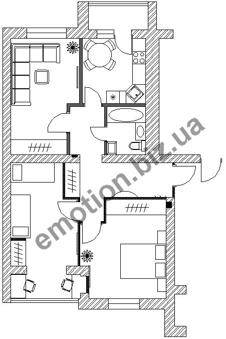 Перепланировка однокомнатной квартиры в доме серии И